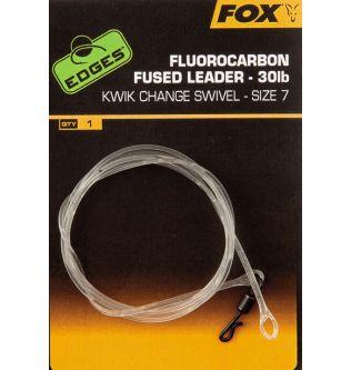 Флюорокарбоновый лидер с быстросъемником Fox Fluorocarbon Fused Leader - 75 cm